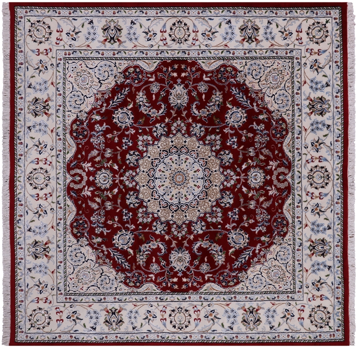 Square Hand Knotted Persian Nain Wool & Silk Rug
