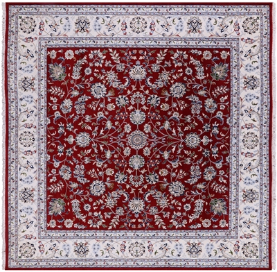 Square Persian Nain Wool & Silk Rug