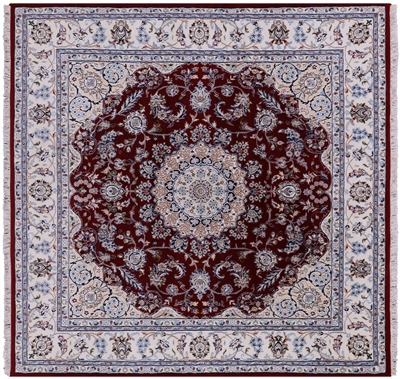 Square Persian Nain Wool & Silk Area Rug