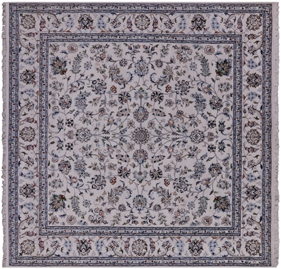 Square Wool & Silk Persian Nain Rug