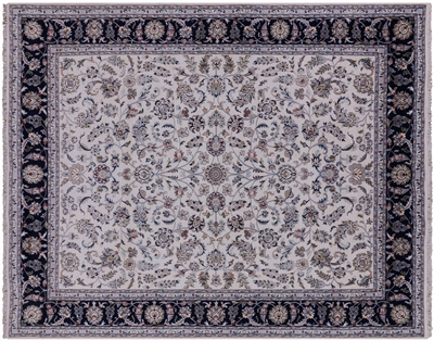 Hand Knotted Persian Nain Wool & Silk Rug