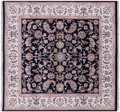 Square Persian Nain Wool & Silk Hand Knotted Rug