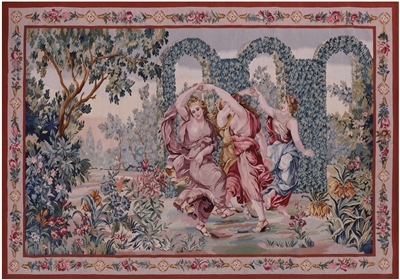 French Pictorial Dancing Girls Tapestry Rug