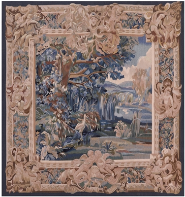 French Aubusson Tapestry With Birds And Stream Handmade Rug