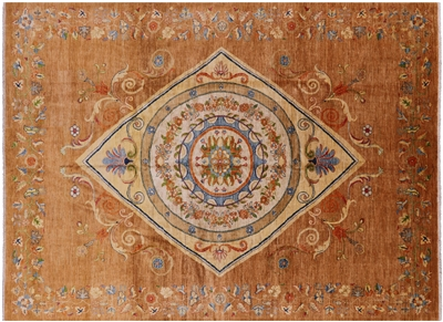 Contemporary Floral Hand Knotted Area Rug
