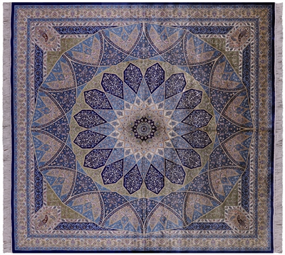Square High End Persian 100% Silk Rug