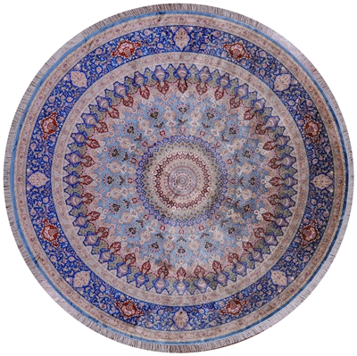 Round High End Persian Silk Hand Knotted Rug
