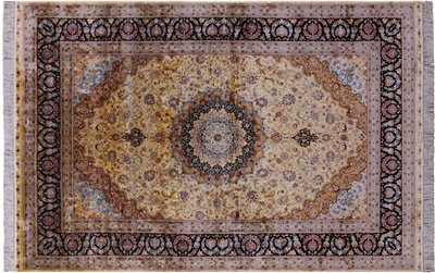 Gold High End Persian Silk Hand Knotted Rug
