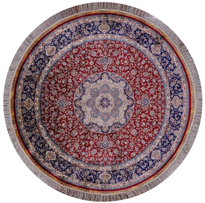 Round High End Persian 100% Silk Hand Knotted Rug