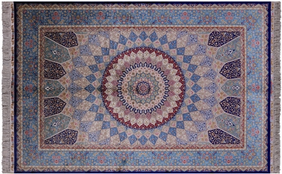 Gumbad Design High End Persian Silk Hand Knotted Rug