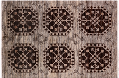 Natural Fine Turkmen Hand-Knotted Rug