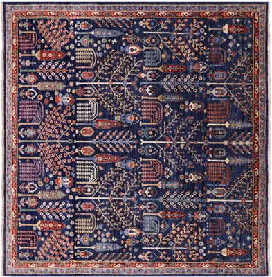 Square Hand-Knotted Persian Fine Serapi Rug