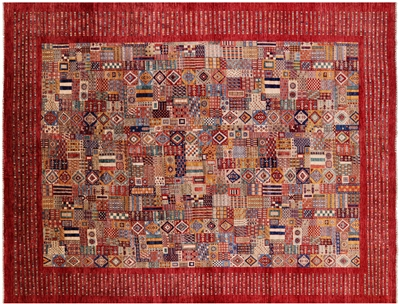Hand-Knotted Tribal Persian Gabbeh Wool Rug
