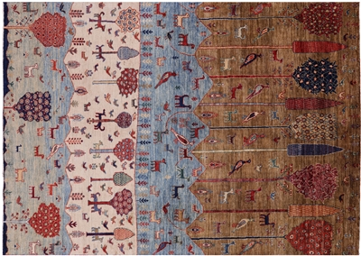 Hand Knotted Tribal Persian Gabbeh Wool Rug