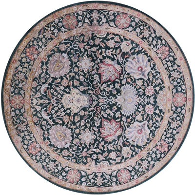 Round Wool & Silk Persian Hand Knotted Rug