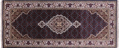 Persian Tabriz Hand Knotted Wool & Silk Runner Rug
