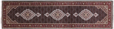 Runner Wool & Silk Persian Tabriz Hand Knotted Rug