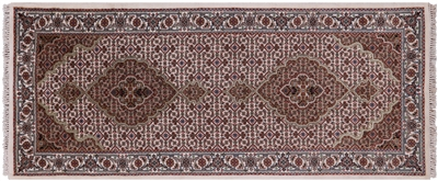 Runner Hand Knotted Persian Tabriz Wool & Silk Rug