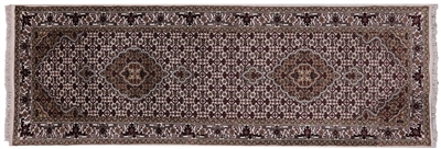 Wool & Silk Persian Tabriz Hand-Knotted Runner Rug