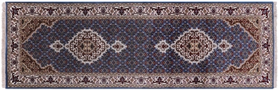 Persian Tabriz Runner Hand Knotted Wool & Silk Rug