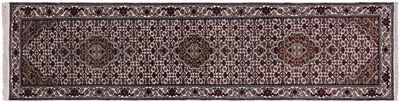 Runner Persian Tabriz Hand Knotted Wool & Silk Rug