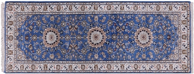 Runner Persian Nain Wool & Silk Hand-Knotted Rug