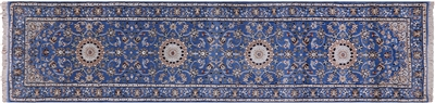 Persian Nain Wool & Silk Runner Rug