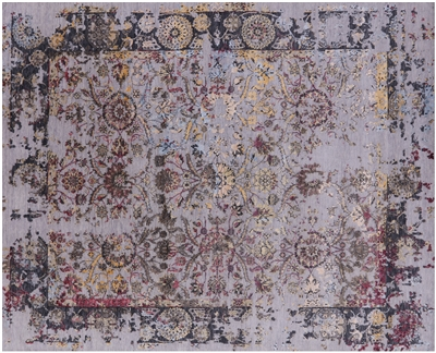 Persian Hand-Knotted Wool & Silk Rug