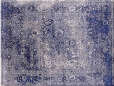 Hand-Knotted Persian Wool & Silk Rug
