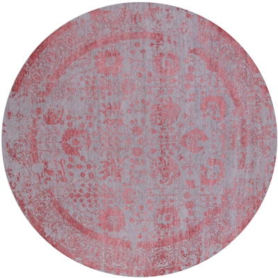 Round Persian Hand Knotted Wool & Silk Rug