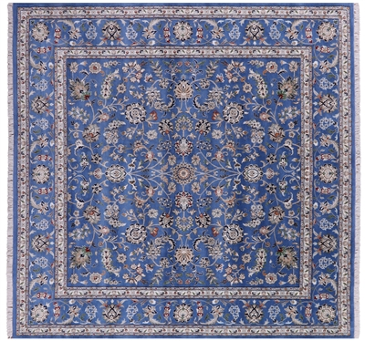 Square Wool & Silk Persian Nain Hand Knotted Rug