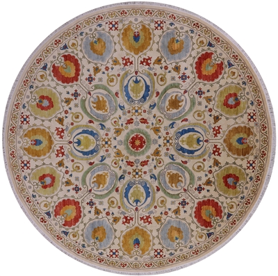 Round William Morris Hand-Knotted Rug