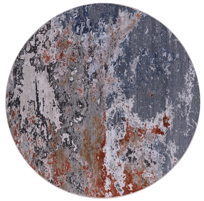 Round Hand Knotted Abstract Wool & Silk Rug
