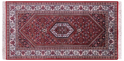Fine Persian Bijar Wool & Silk Rug