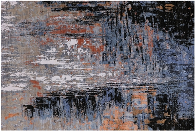 Abstract Handmade Wool & Silk Rug