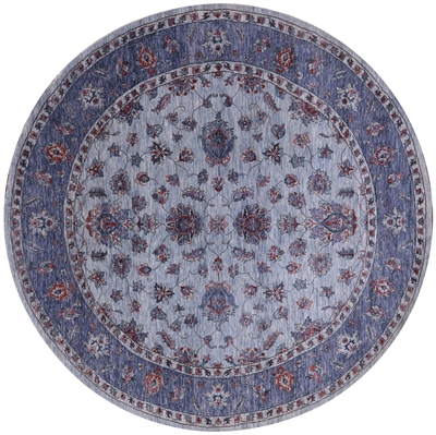 Round Wool & Silk Persian Hand-Knotted Rug
