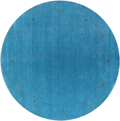 Round Hand Knotted Persian Gabbeh Wool Rug