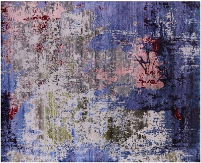 Modern Wool & Silk Hand Knotted Rug