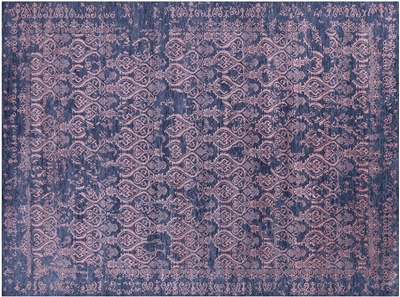 Modern Hand-Knotted Wool & Silk Rug