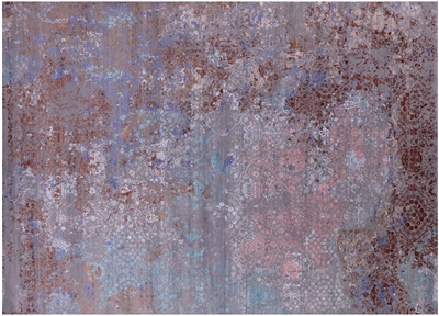 Modern Hand Knotted Wool & Silk Rug