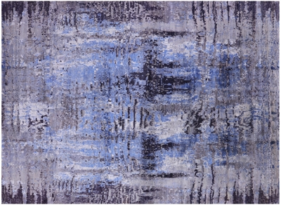 Hand Knotted Modern Wool & Silk Rug