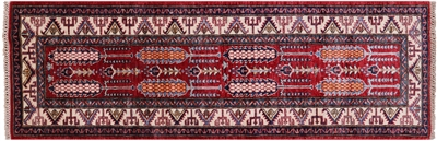 Hand-Knotted Super Kazak Runner Rug