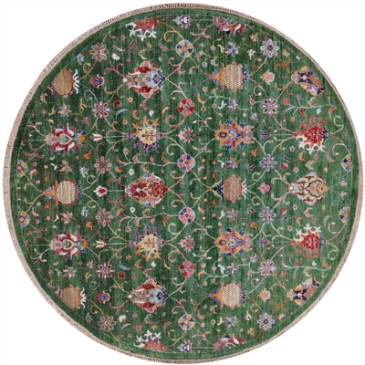 Round Hand Knotted Persian Tabriz Wool Rug