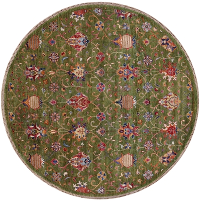 Round Hand Knotted Persian Tabriz Rug