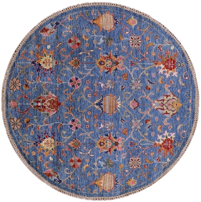 Round Persian Tabriz Hand Knotted Wool Rug