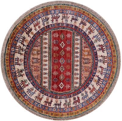 Round Persian Gabbeh Hand Knotted Rug