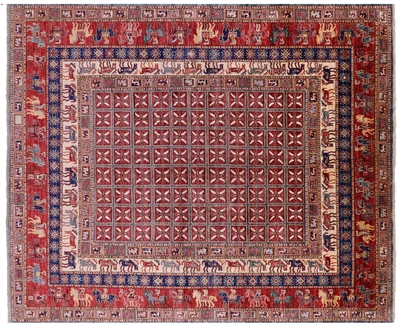 Antiqued Pazyryk Historical Design Handmade Wool Rug