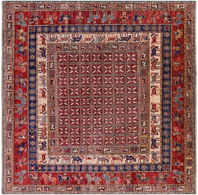 Square Hand Knotted Antiqued Pazyryk Historical Design Rug