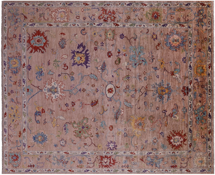 Oushak Hand-Knotted Wool Rug