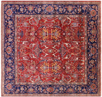 Square Hand Knotted Persian Fine Serapi Wool Rug
